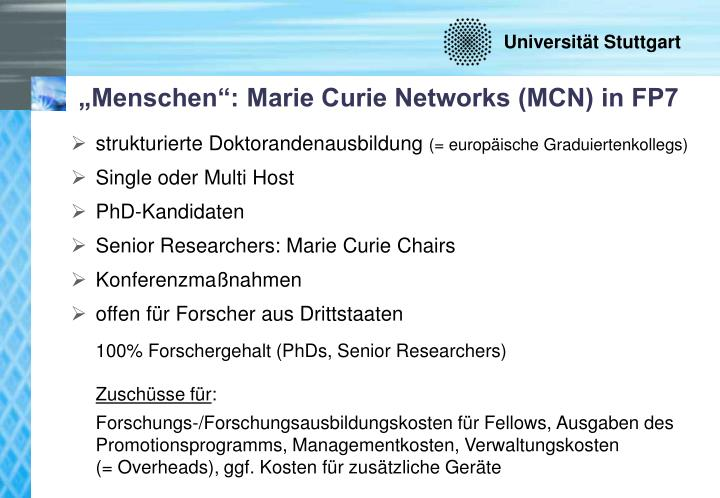 """""""Menschen"""": Marie Curie Networks (MCN) in FP7"""