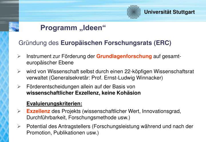 """Programm """"Ideen"""""""