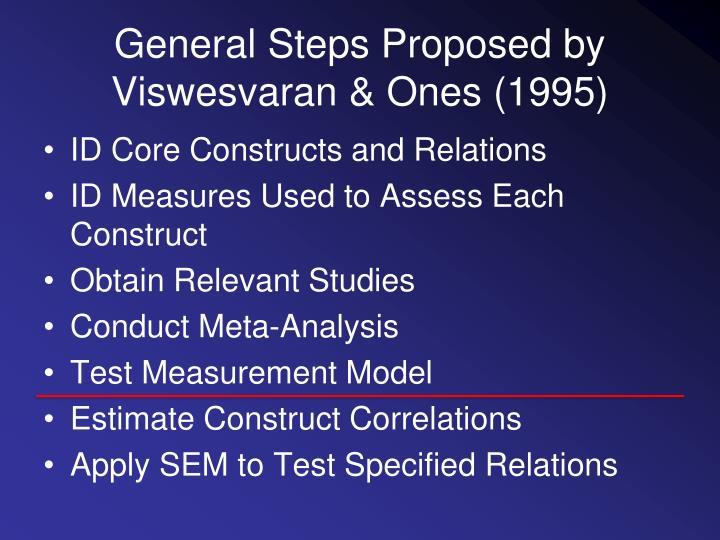 General Steps Proposed by Viswesvaran & Ones (1995)