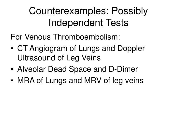 Counterexamples: Possibly Independent Tests