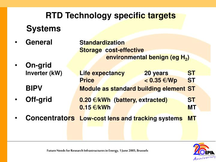 RTD Technology specific