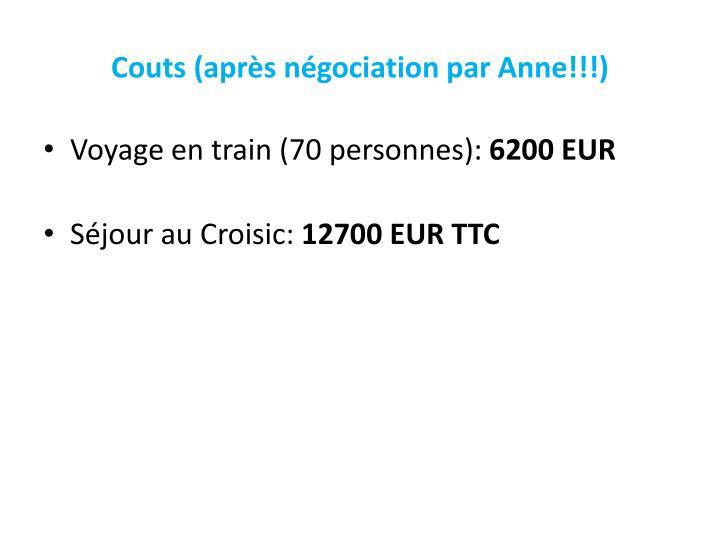 Couts (après négociation par Anne!!!)