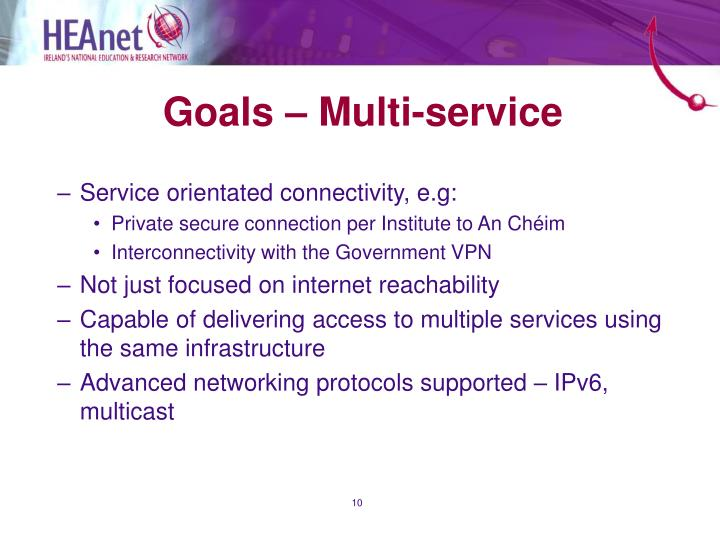 Goals – Multi-service