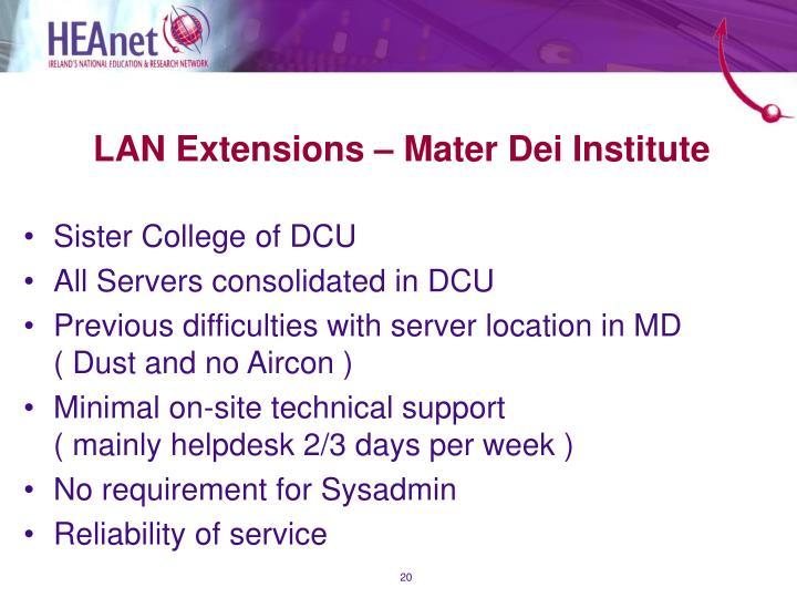 LAN Extensions – Mater Dei Institute