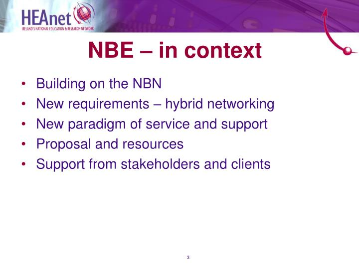 NBE – in context