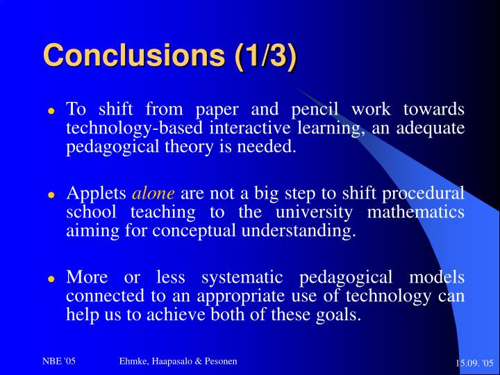 Conclusions (1/3)