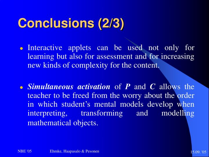 Conclusions (2/3)