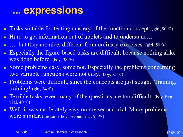 ... expressions