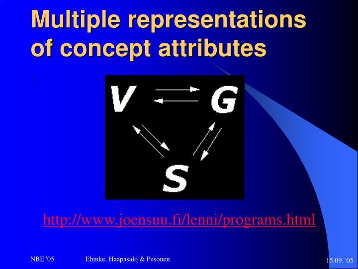 Multiple representations of concept attributes