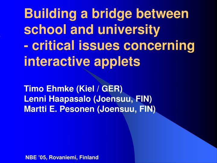 Building a bridge between school and university