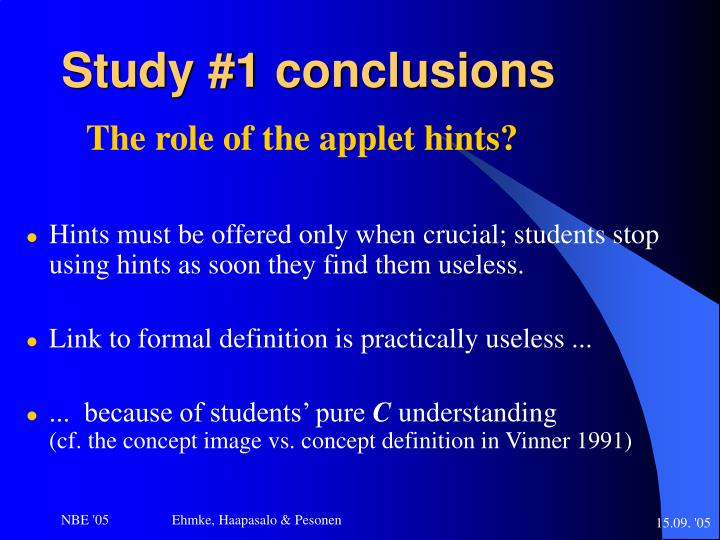 Study #1 conclusions