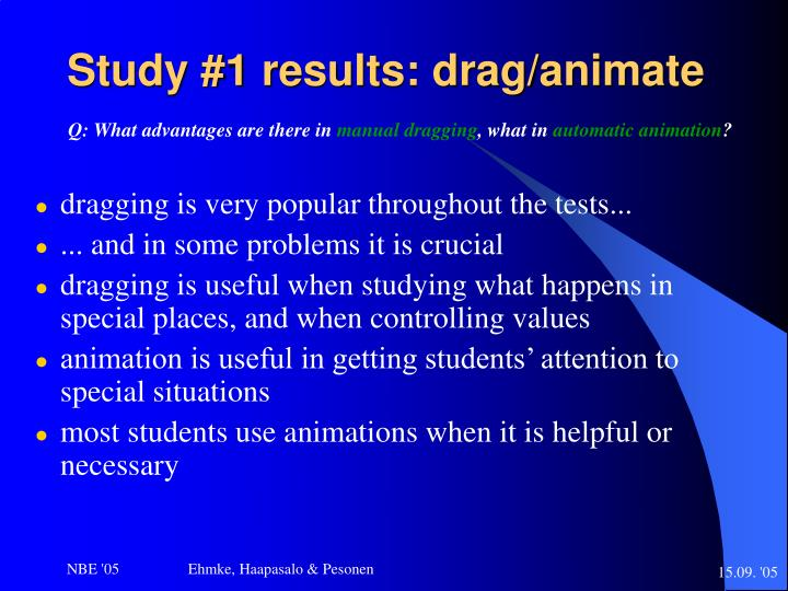 Study #1 results: drag/animate