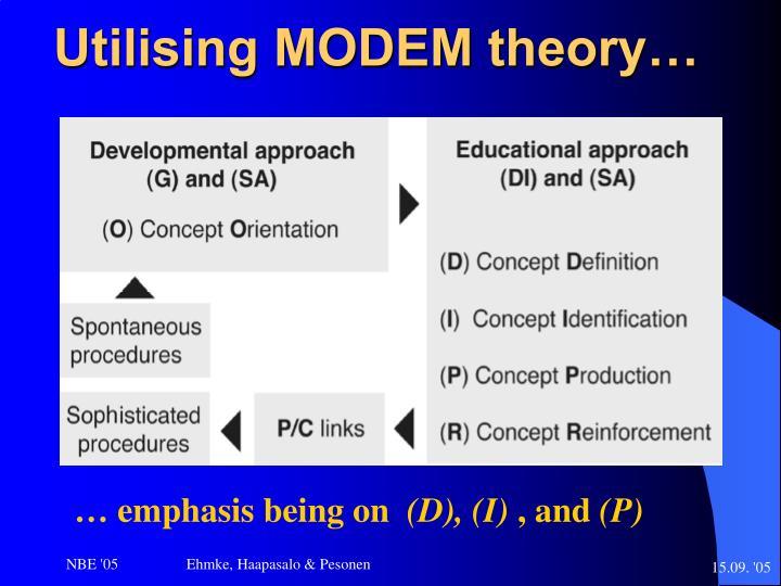 Utilising MODEM theory…