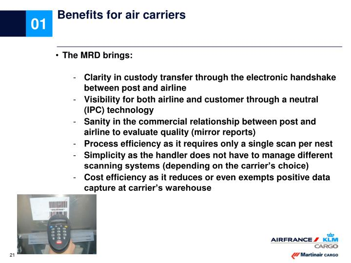Benefits for air carriers