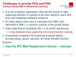 challenges to provide poa and pod taking custody amu warehouse scanning
