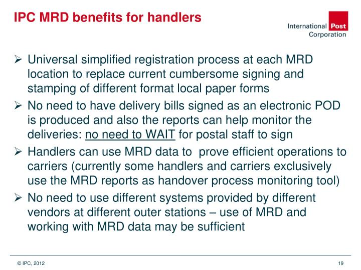 IPC MRD benefits for handlers
