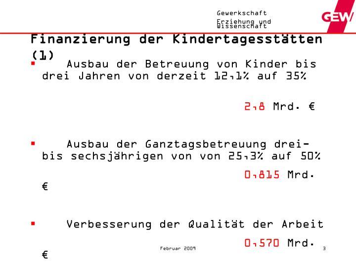 Finanzierung der Kindertagesstätten (1)