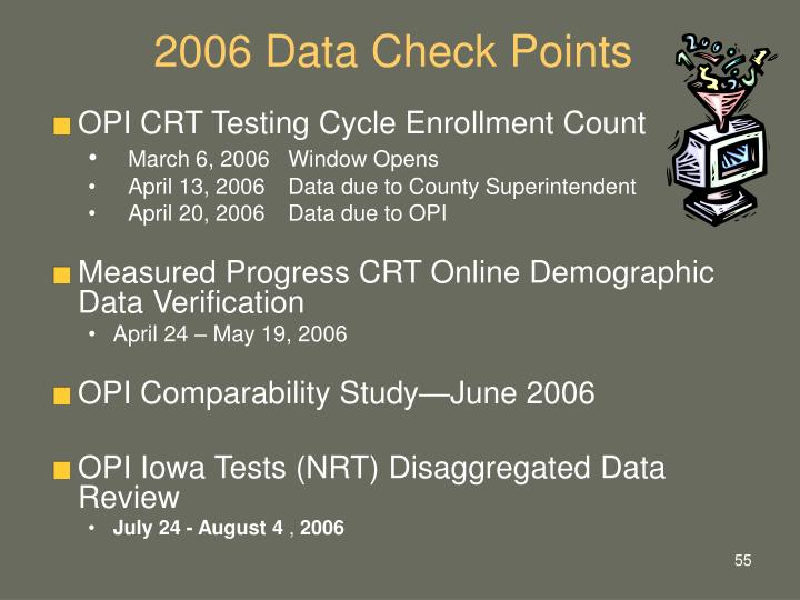 2006 Data Check Points