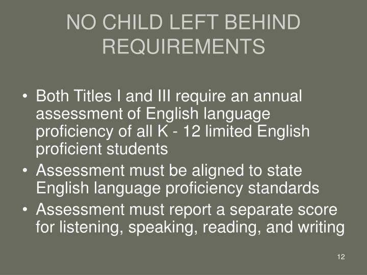 NO CHILD LEFT BEHIND REQUIREMENTS