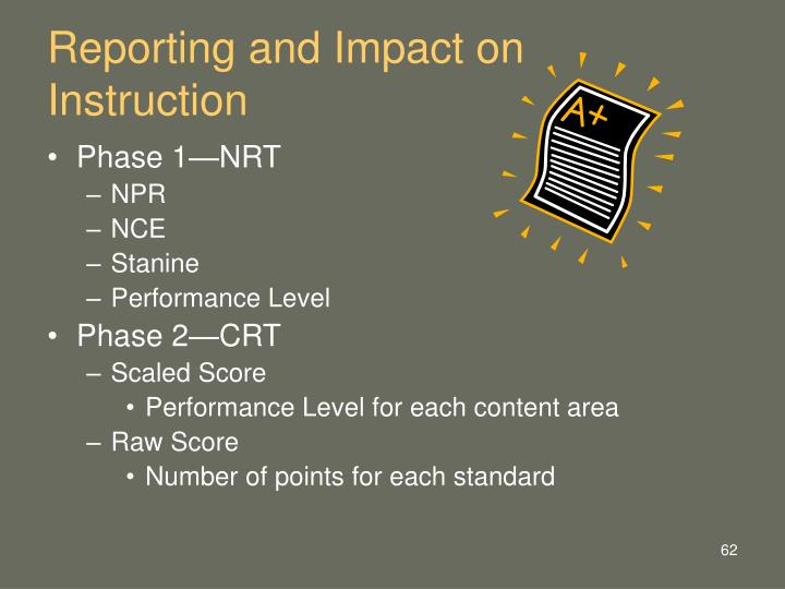 Reporting and Impact on Instruction
