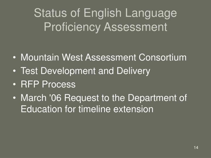 Status of English Language Proficiency Assessment
