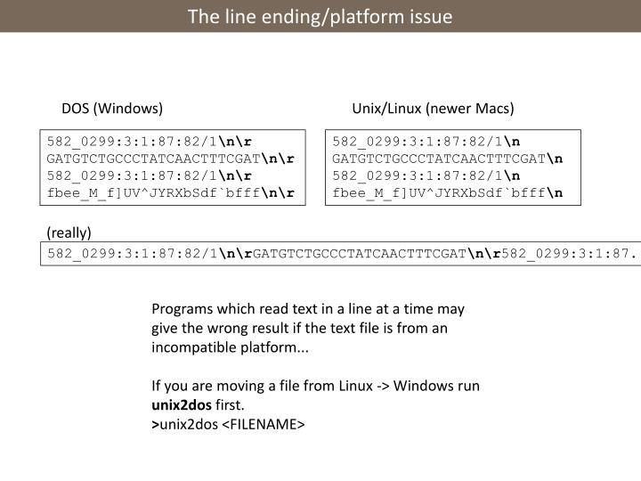 The line ending/platform issue