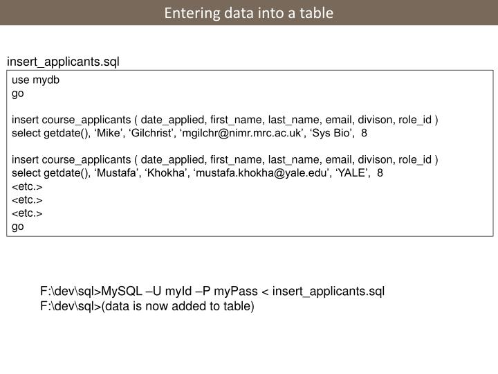 Entering data into a table