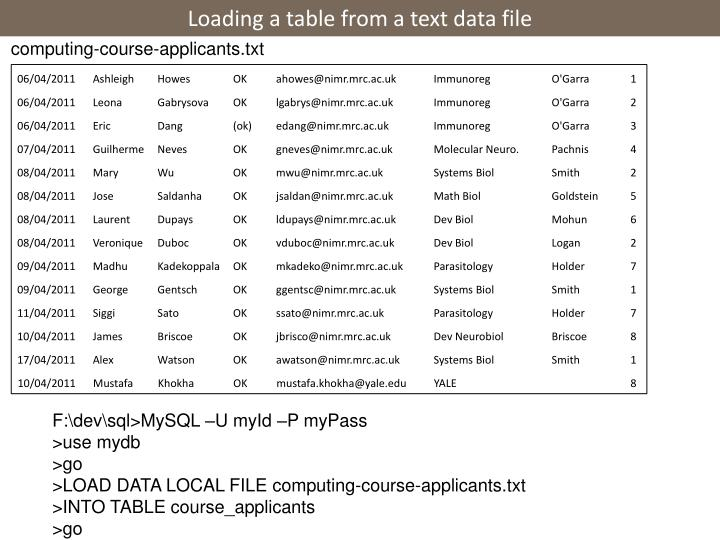 Loading a table from a text data file