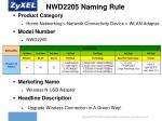 nwd2205 naming rule