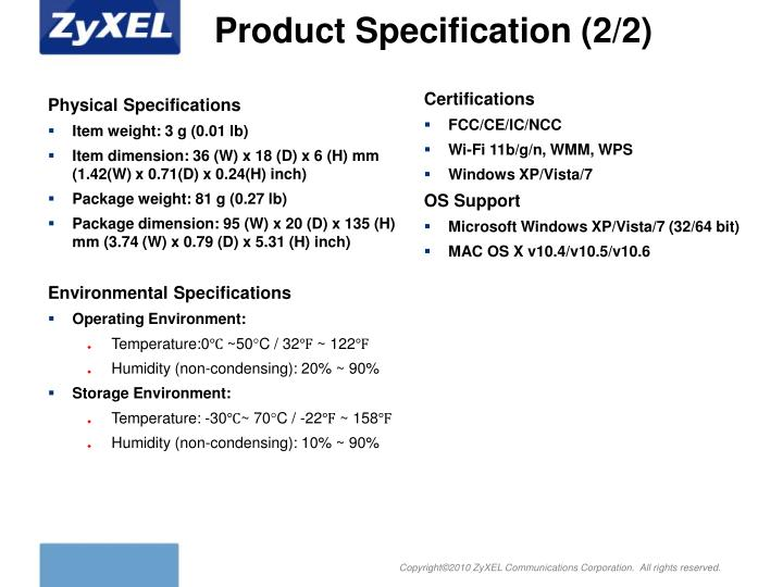 Product Specification (2/2)