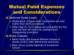 mutual fund expenses and considerations1