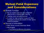 mutual fund expenses and considerations3