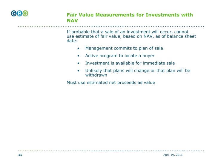 Fair Value Measurements for Investments with NAV