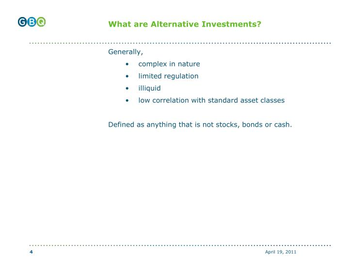 What are Alternative Investments?