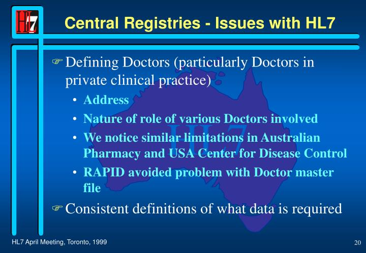 Central Registries - Issues with HL7