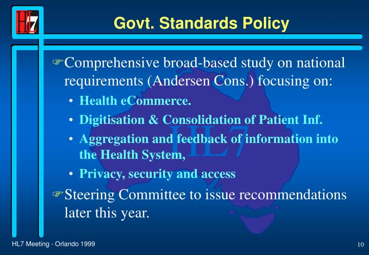 Govt. Standards Policy