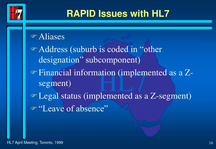 RAPID Issues with HL7