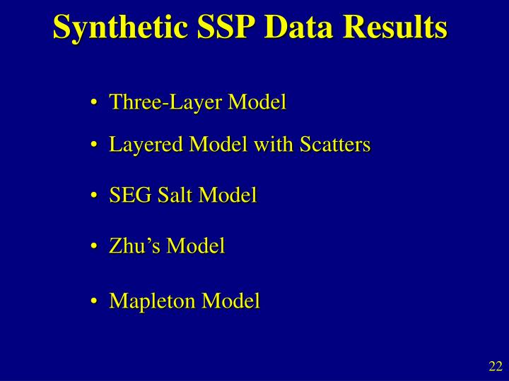 Synthetic SSP Data Results