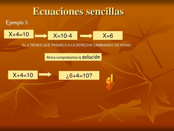 Ecuaciones sencillas
