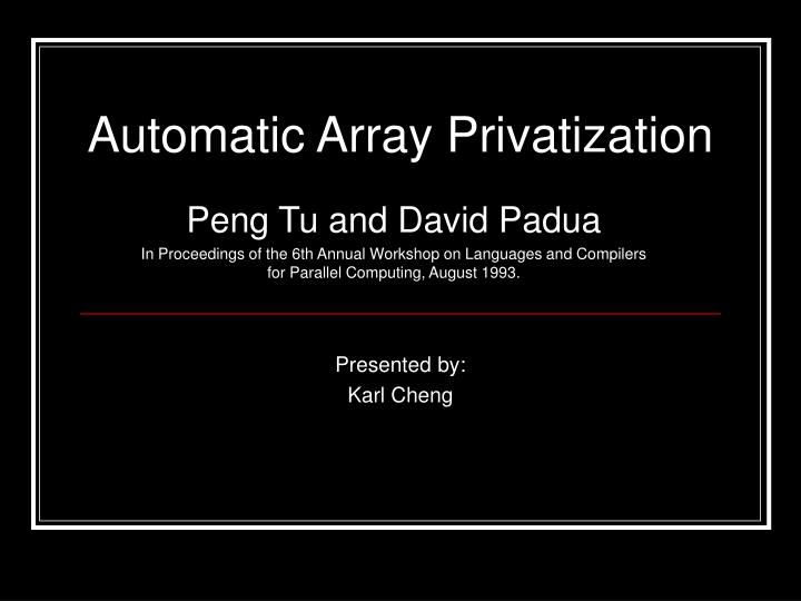 automatic array privatization