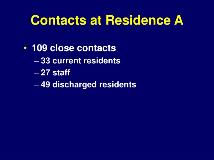 Contacts at Residence A