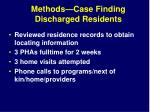 methods case finding discharged residents