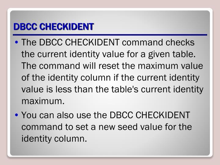 DBCC CHECKIDENT