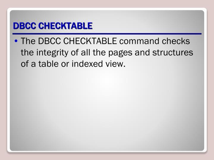 DBCC CHECKTABLE