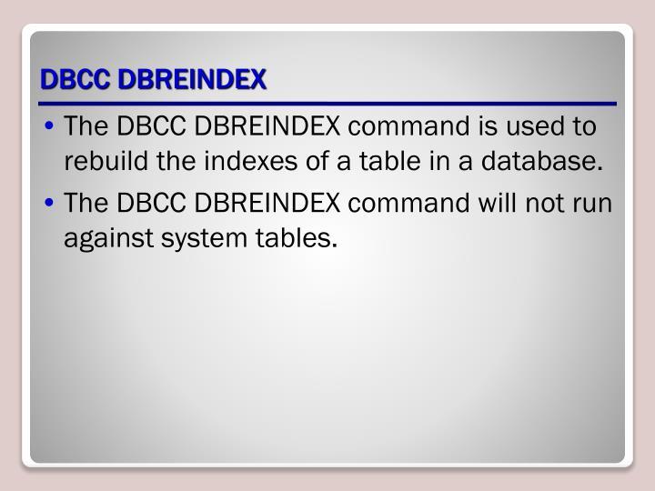 DBCC DBREINDEX