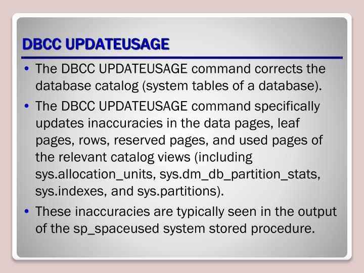 DBCC UPDATEUSAGE