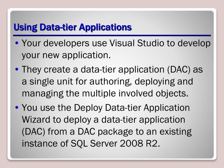 Using Data-tier Applications