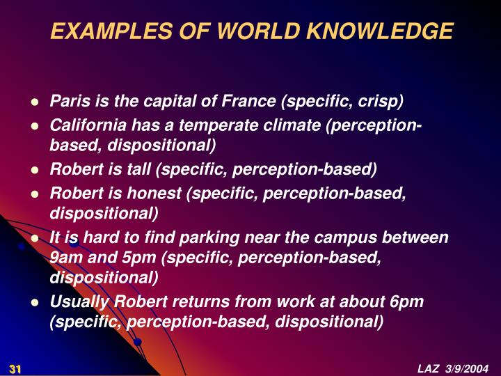 EXAMPLES OF WORLD KNOWLEDGE