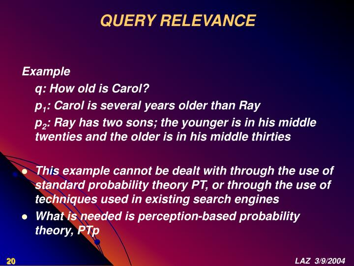 QUERY RELEVANCE