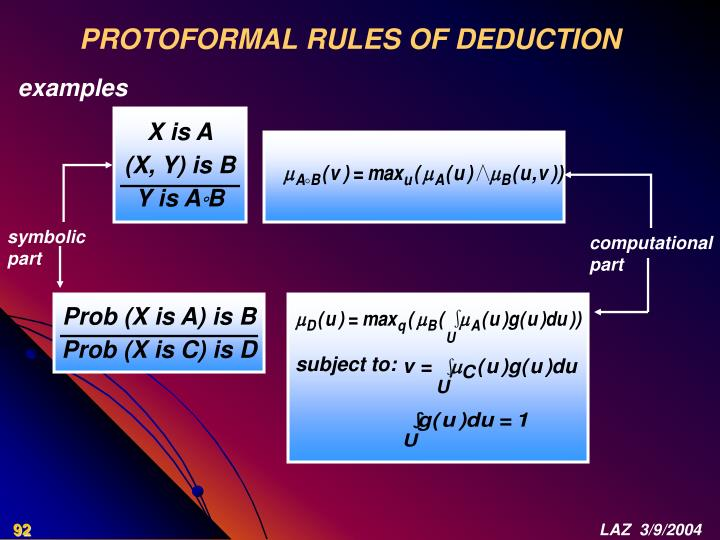 PROTOFORMAL RULES OF DEDUCTION